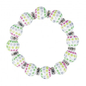 HOTSY DOTSY CLASSIC BRACLET - CLEAR SWAROVSKI CRYSTALS by Angela Moore - Hand Painted, Beaded Bracelets