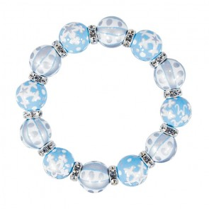 WHITE CHRISTMAS CLASSIC BRACELET - CLEAR SWAROVSKI CRYSTALS by Angela Moore - Hand Painted, Beaded Bracelets