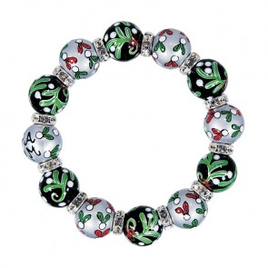 MOONLIGHT MISTLETOE CLASSIC BRACLET - CLEAR SWAROVSKI CRYSTALS by Angela Moore - Hand Painted, Beaded Bracelets