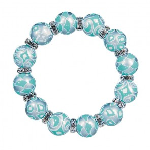 COOL CASTAWAY CLASSIC BRACELET -  CLEAR SWAROVSKI CRYSTALS by Angela Moore - Hand Painted, Beaded Bracelets
