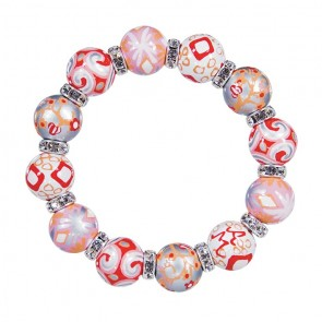 SUNSET SHIMMER CLASSIC BRACELET - CLEAR SWAROVSKI CRYSTALS by Angela Moore - Hand Painted, Beaded Bracelets