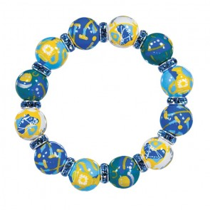 POLO SCENE CLASSIC BRACELET - LT SAPPHIRE SWAROVSKI CRYSTALS by Angela Moore - Hand Painted, Beaded Bracelets