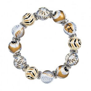 CAFE AU LAIT CLASSIC BRACELET - CLEAR SWAROVSKI CRYSTALS by Angela Moore - Hand Painted, Beaded Bracelet