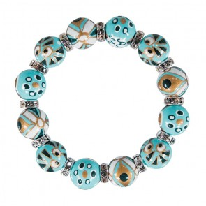 THAT'S AMORE CLASSIC BRACELET - CLEAR SWAROVSKI CRYSTALS by Angela Moore - Hand Painted, Beaded Bracelets