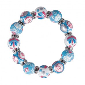 SHELLY SHELLS CLASSSIC BRACELET - CLEAR SWAROVSKI CRYSTALS by Angela Moore - Hand Painted, Beaded Bracelets