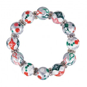 HOLIDAY SWEETS CLASSIC BRACELET - CLEAR SWAROVSKI CRYSTALS by Angela Moore - Hand Painted, Beaded Bracelets