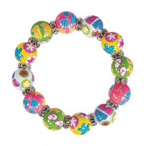 BEACH BABY CLASSIC BRACELET - CLEAR SWAROVSKI CRYSTALS by Angela Moore - Hand Painted, Beaded Bracelets