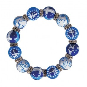 UNITED BY LOVE CLASSIC BRACELET - CLEAR SWAROVSKI CRYSTALS by Angela Moore - Hand Painted, Beaded Bracelets