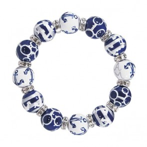 ANCHORS AWAY NAVY/SILVER CLASSIC BRACELET - CLEAR SWAROVSKI CRYSTALS