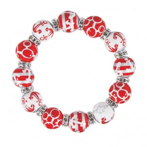 ANCHORS AWAY RED/SILVER CLASSIC BRACELET - CLEAR SWAROVSKI CRYSTALS