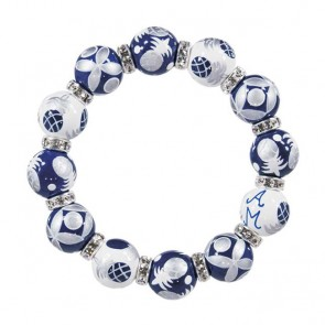 PINEAPPLE PATCH NAVY/SILVER CLASSIC BRACELET - CLEAR SWAROVSKI CRYSTALS
