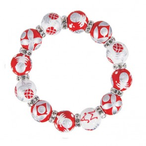 PINEAPPLE PATCH RED/SILVER CLASSIC BRACELET - CLEAR SWAROVSKI CRYSTALS
