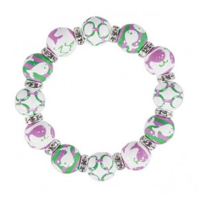 WHALE WATCH PINK/GREEN CLASSIC BRACELET - CLEAR SWAROVSKI CRYSTALS