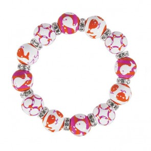 WHALE WATCH PINK/ORANGE CLASSIC BRACELET - CLEAR SWAROVSKI CRYSTALS