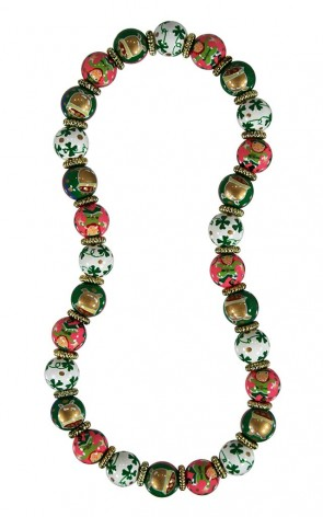 LUCKY LEPRECHAUN CLASSIC NECKLACE - GOLD by Angela Moore - Hand Painted, Beaded Necklace