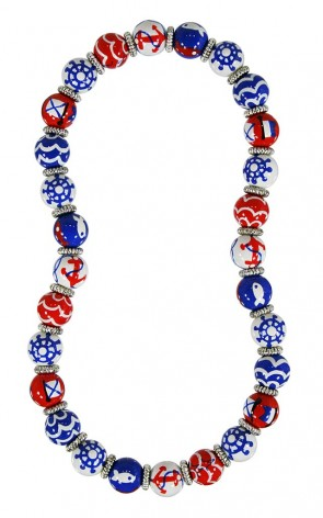 NAUTICAL BREEZE RED BLUE CLASSIC NECKLACE - SILVER by Angela Moore - Hand Painted, Beaded Necklace