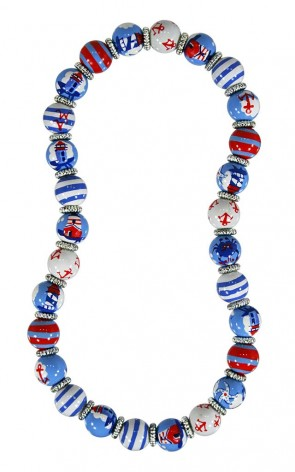 LIGHTHOUSE LANE CLASSIC NECKLACE - SILVER by Angela Moore - Hand Painted, Beaded Necklace