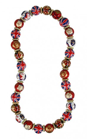 LONDON VIBE CLASSIC NECKLACE - GOLD by Angela Moore - Hand Painted, Beaded Necklace