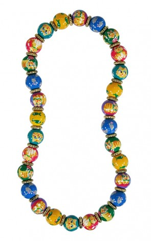 KITTY WITTY'S 9 LIVES CLASSIC NECKLACE - GOLD by Angela Moore - Hand Painted, Beaded Necklace