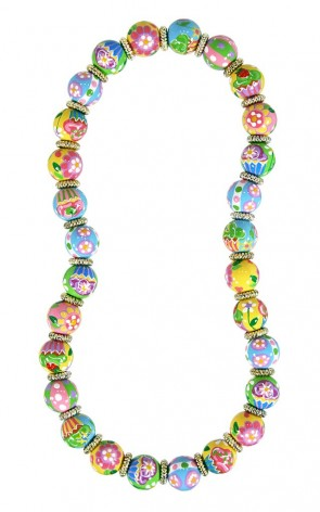 COOL CUPCAKES CLASSIC NECKLACE - GOLD by Angela Moore - Hand Painted, Beaded Necklace