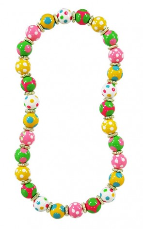DOTTY DELIGHT CLASSIC NECKLACE - GOLD by Angela Moore - Hand Painted, Beaded Necklace