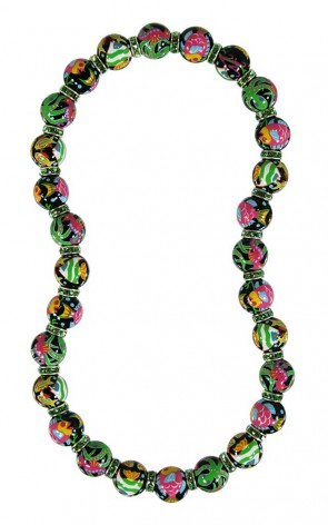 HOT TROPICS CLASSIC NECKLACE - PERIDOT SWAROVSKI CRYSTALS by Angela Moore - Hand Painted, Beaded Necklace
