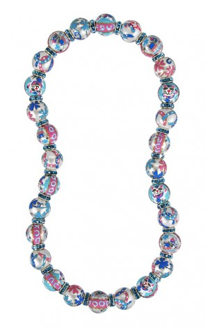 LUCKY DAY CLASSIC NECKLACE - AQUAMARINE SWAROVSKI CRYSTALS by Angela Moore - Hand Painted, Beaded Necklace