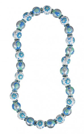 LUXE LIFE CLASSIC NECKLACE - AQUAMARINE SWAROVSKI CRYSTALS by Angela Moore - Hand Painted, Beaded Necklace