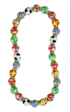 SPORTY GIRL CLASSIC NECKLACE - GOLD by Angela Moore - Hand Painted, Beaded Necklace