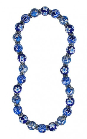 BLUE HEAVEN CLASSIC NECKLACE - AQUAMARINE SWAROVSKI CRYSTALS by Angela Moore - Hand Painted, Beaded Necklace