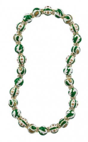 GREEN CRUSH CLASSIC BRACLET - CLEAR SWAROVSKI CRYSTALS by Angela Moore - Hand Painted, Beaded Necklace