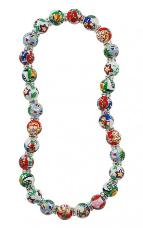 CHRISTMAS MEMORIES CLASSIC NECKLACE - CLEAR SWAROVSKI CRYSTALS by Angela Moore - Hand Painted, Beaded Necklace