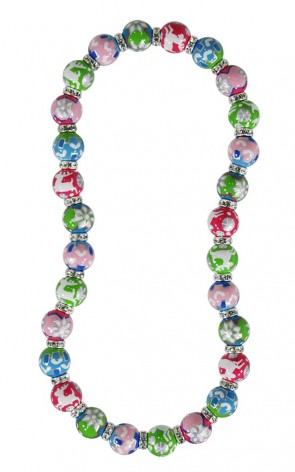 SWISS CHALET CLASSIC NECKLACE - CLEAR SWAROVSKI CRYSTALS by Angela Moore - Hand Painted, Beaded Necklace