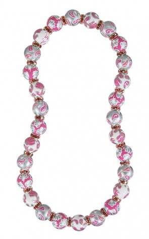 FRENCH LACE PINK CLASSIC NECKLACE - LIGHT ROSE SWAROVSKI CRYSTALS by Angela Moore - Hand Painted, Beaded Necklace