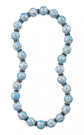 BLUE BELLE CLASSIC NECKLACE - LIGHT SAPPHIRE SWAROVSKI CRYSTALS by Angela Moore - Hand Painted, Beaded Necklace