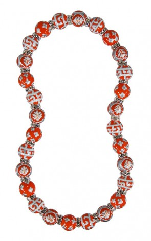 DESERT BLOOM SPICE CLASSIC NECKLACE - CLEAR SWAROVSKI CRYSTALS by Angela Moore - Hand Painted, Beaded Necklace