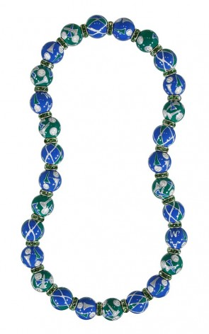 GORGEOUS GOLF CLASSIC NECKLACE - PERIDOT SWAROVSKI CRYSTALS by Angela Moore - Hand Painted, Beaded Necklace
