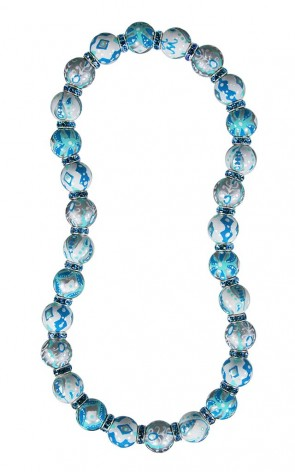 SEYCHELLES SPIRIT CLASSIC NECKLACE - AQUAMARINE SWAROVSKI CRYSTALS by Angela Moore - Hand Painted, Beaded Necklace