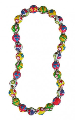 BEACH BABY CLASSIC NECKLACE - CLEAR SWAROVSKI CRYSTALS by Angela Moore - Hand Painted, Beaded Necklace
