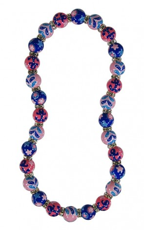 BEACHY KEEN CLASSIC NECKLACE - CLEAR SWAROVSKI CRYSTALS by Angela Moore - Hand Painted, Beaded Necklace