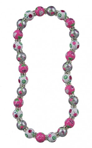 COOL COSMO CLASSIC NECKLACE - CLEAR SWAROVSKI CRYSTALS by Angela Moore - Hand Painted, Beaded Necklace