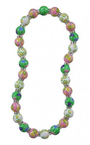 MARGARITA MAMBO CLASSIC NECKLACE - CLEAR SWAROVSKI CRYSTALS by Angela Moore - Hand Painted, Beaded Necklace