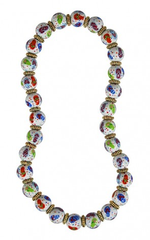 FLIP FLOPS WHITE MULTI CLASSIC NECKLACE - GOLD by Angela Moore - Hand Painted, Beaded Necklace