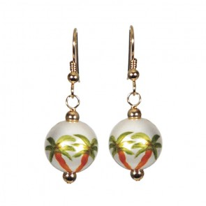 PALM TREES PEARL CLASSIC BEAD EARRINGS - GOLD by Angela Moore - Hand Painted Earrings