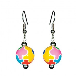 AUTISM AWARENESS CLASSIC BEAD EARRINGS - SILVER