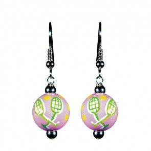 TENNIS TALES CLASSIC BEAD EARRINGS - SILVER by Angela Moore - Hand Painted Earrings