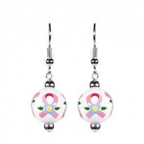 PINK RIBBON CLASSIC BEAD EARRINGS - SILVER by Angela Moore - Hand Painted Earrings