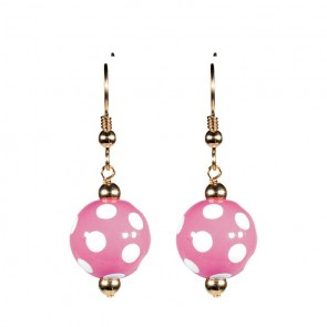 DOTTY DELIGHT CLASSIC BEAD EARRINGS - GOLD by Angela Moore - Hand Painted Earrings