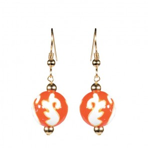 ORANGE CRUSH CLASSIC BEAD EARRINGS - GOLD by Angela Moore - Hand Painted Earrings