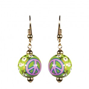 GOOD KARMA CLASSIC BEAD EARRINGS - GOLD by Angela Moore - Hand Painted Earrings